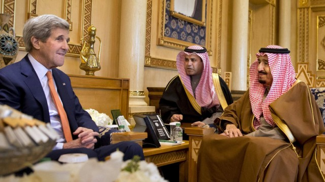 U.S. Secretary of State John Kerry meets with Saudi King Salman bin Abdulaziz at the King's farm, on the outskirts of Riyadh